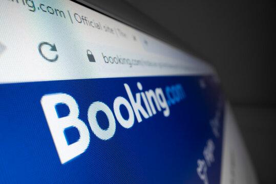 Melbourne, Australia - Mar 25, 2021: Close-up view of Booking.com logo on its website