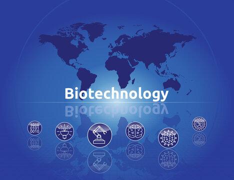 Biotechnology. Text mit Icons und Globus.