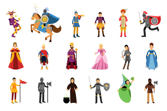 Medieval People Characters with Herald and Jester Vector Illustration Set