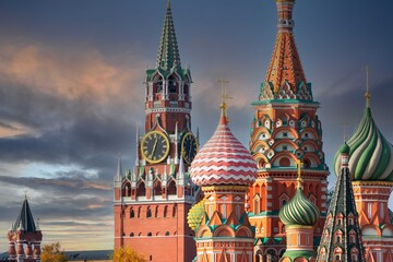 St. Basil's Cathedral and Spassky Tower on Red Square in Moscow. Orthodox church and...