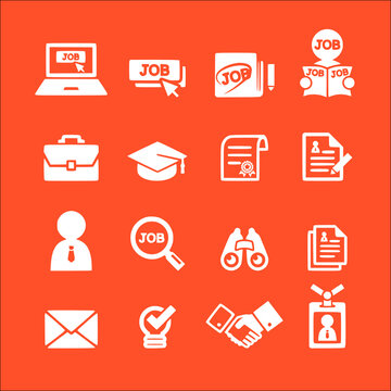 icon set of job vector icons collection of symbol, logo, pictogram linear flat simple ui stroke sign hand drawn lined graphic design