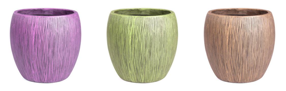 Large modern vases, set of 3, isolated