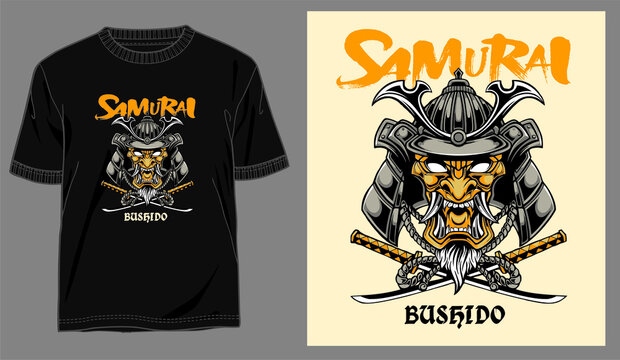 samurai illustration vector and typography for design t shirt concept