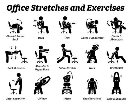 Working office stretches and exercises to relax tension muscle. Vector illustrations depict techniques and postures of a man stretching with an office chair at workplace.