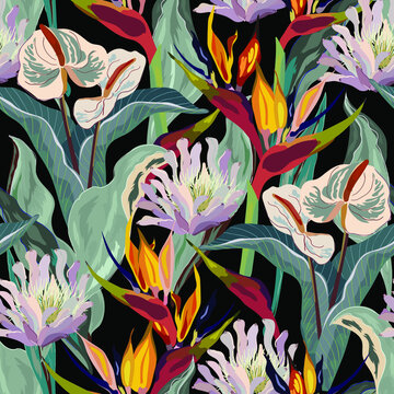 Floral seamless pattern. Tropical flowers.