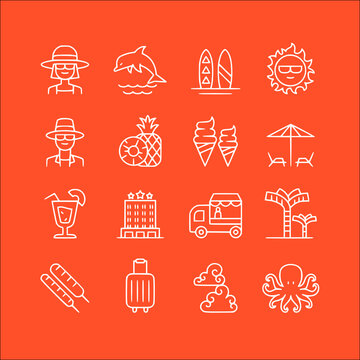 icon set of summer in thin line, outline style vector icons collection of symbol, logo, pictogram linear flat simple ui stroke sign hand drawn lined graphic design
