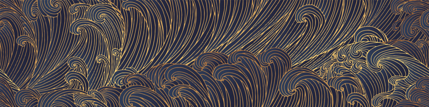 Line art design of waves, montain, modern hand-drawn vector background, gold ink pattern. Minimalist Asian style.