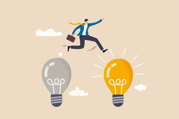 Fototapeta Business transformation, change management or transition to better innovative company, improvement and adaptation to new normal concept, smart businessman jump from old to new shiny lightbulb idea. obraz