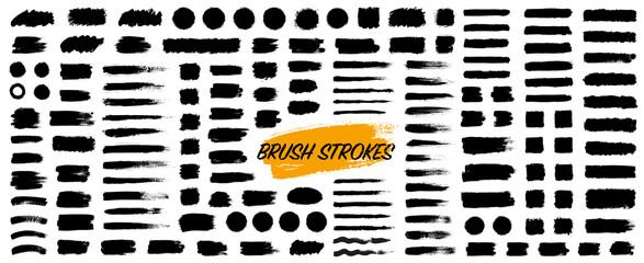 Fototapeta Black set paint, ink brush, brush strokes, brushes, lines, frames, box, grungy. Grungy brushes collection. Brush stroke paint boxes on white background - stock vector. obraz