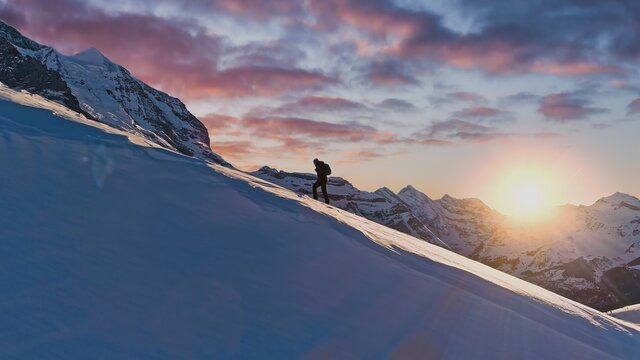 Mountain Expedition Mountaineering Trekking Everest Epic Aerial Of Successful Climber Heading Toward Success Hiking Up To Mountain Top Swiss Alps Vacation Healthy Lifestyle Happiness Achievement