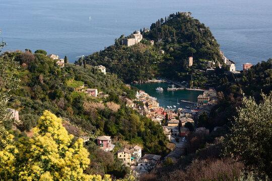 View of Portofino from San Sebastiano. Liguria. Italy