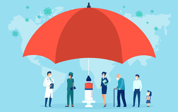 Vaccination concept. Vector of an umbrella shaped syringe with vaccine for COVID-19 and group of people waiting in line
