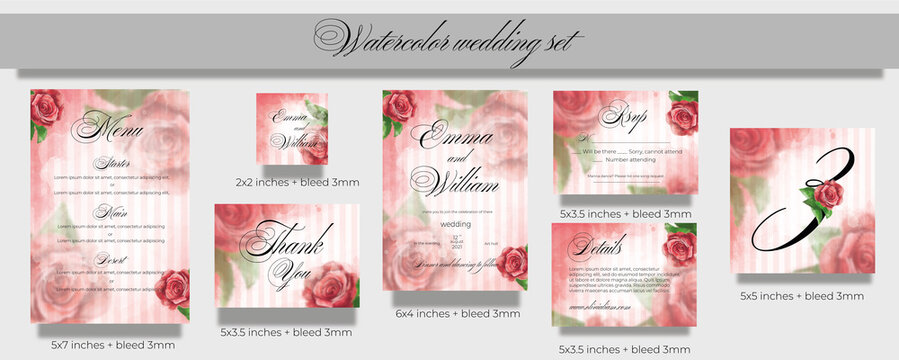 watercolor wedding set for printing in soft pink tones with red roses. invite 5x7 inches + area bleed 3мм