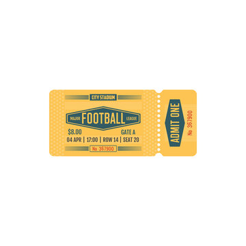 Football ticket major league game, vector card for soccer team match on city stadium. Retro vintage paper or carton admit one template with perforated line isolated on white background