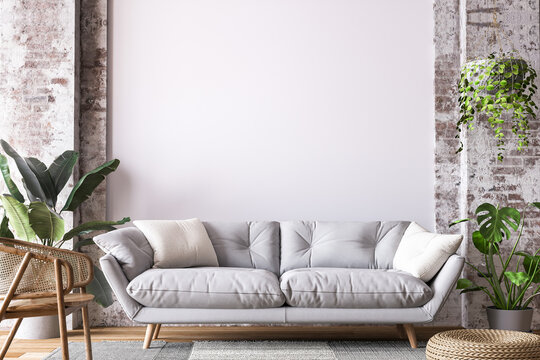 Living room design in loft apartment, white sofa on empty wall mockup, 3d render
