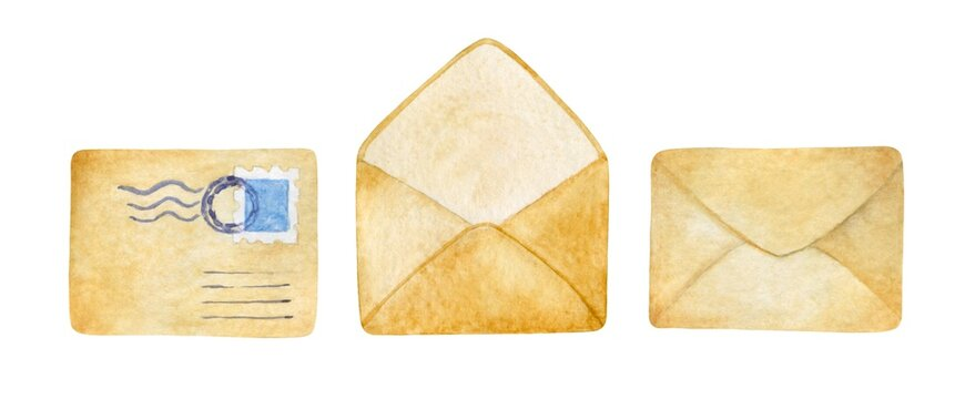 Watercolor paper envelopes isolated on a white background. Cute vintage letters hand-drawn clip art