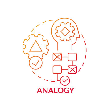 Analogy red gradient concept icon. Searching for solution. Analysis method, evaluation steps. Problem solving idea thin line illustration. Vector isolated outline RGB color drawing