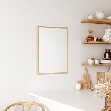 Frame & Poster mockup in kitchen interior.  Boho style.  3d rendering, 3d illustration