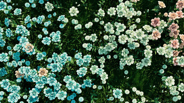 Multicolored Flower Background. Floral Wallpaper with Pale Green, Aqua and Dusky Pink Roses. 3D Render