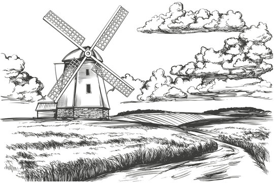 windmill in the field, countryside, summer landscape, hand drawn vector illustration realistic sketch