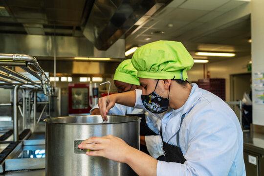 chef students preparing a menu