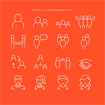 icon set of people in thin line, outline style vector icons collection of symbol, logo, pictogram linear flat simple ui stroke sign hand drawn lined graphic design