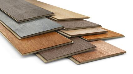 Obraz Set of different wooden laminate planks on white background, 3d illustration - fototapety do salonu