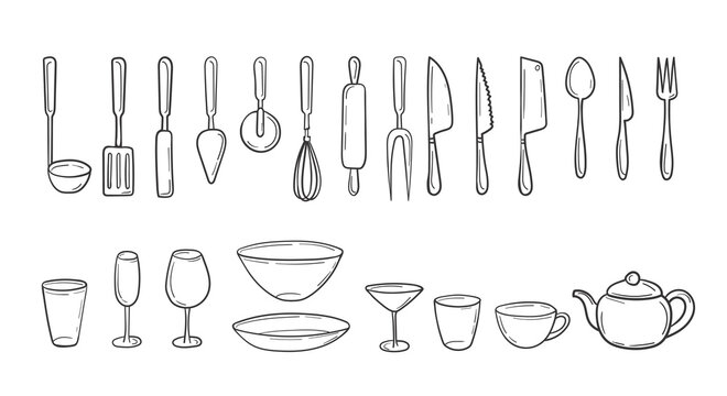 Set of kitchen cutlery in a hand-drawn sketch. Cooking utensils in doodle style. Household tools, utensils, glasses, plates, cutlery. Clip art collection. isolated on white vector illustration