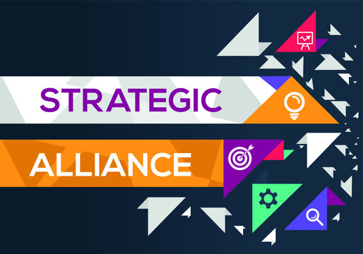Creative (strategic alliance) Banner Word with Icon ,Vector illustration.