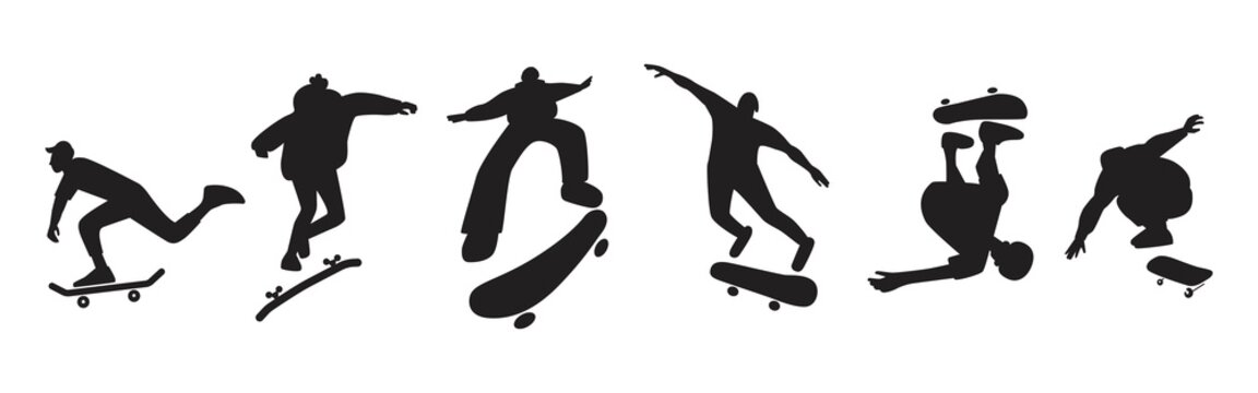 A set of skateboarders silhouettes performing stunts. Collection of jumping and somersault guys with skates. Street skateboarding. Graphic vector design illustrations.