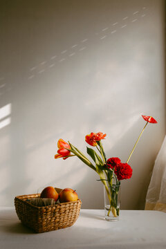 Vase with blooming tulips and carnation placed on table near apples in wicker bowl