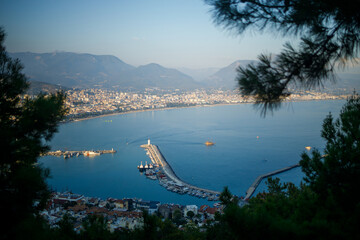 Scenic view of the sunny country, coastline in Turkey, Alanya city Wall mural