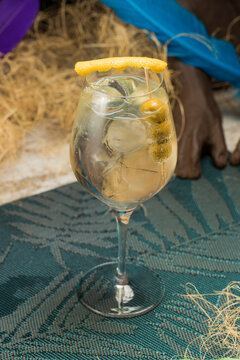 Crystal wineglass with Martini cocktail served with lemon zest and olives edge placed against dry grass