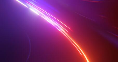 Hyper lapse blur traffic motion on highway dark tunnel. abstract light background. 3D rendering