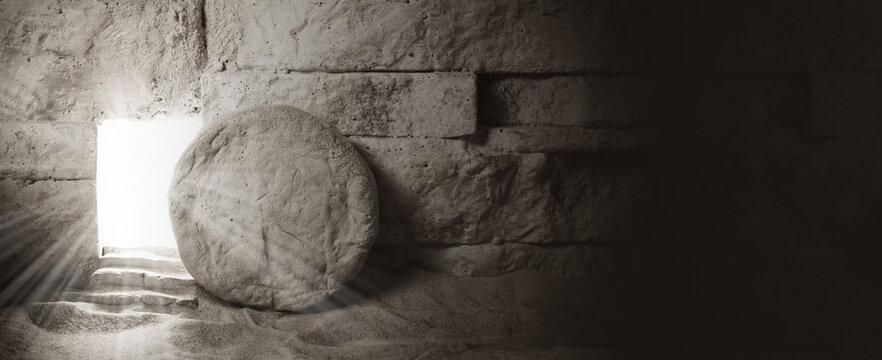 Tomb of Jesus. Jesus Christ Resurrection. Christian easter concept