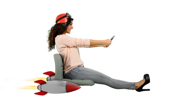 Woman drives fast with rockets under the chair. concept of having the turbo