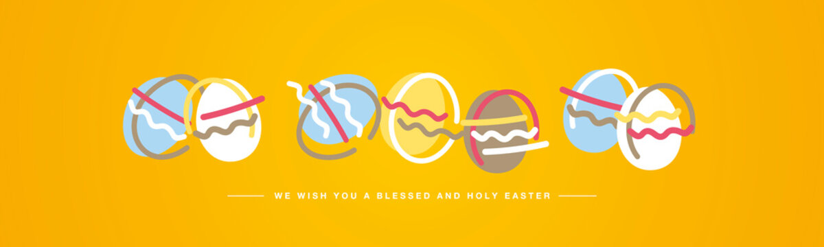 Easter eggs we wish you a holy and blessed Easter with simple hand drawn colorful eggs on orange background
