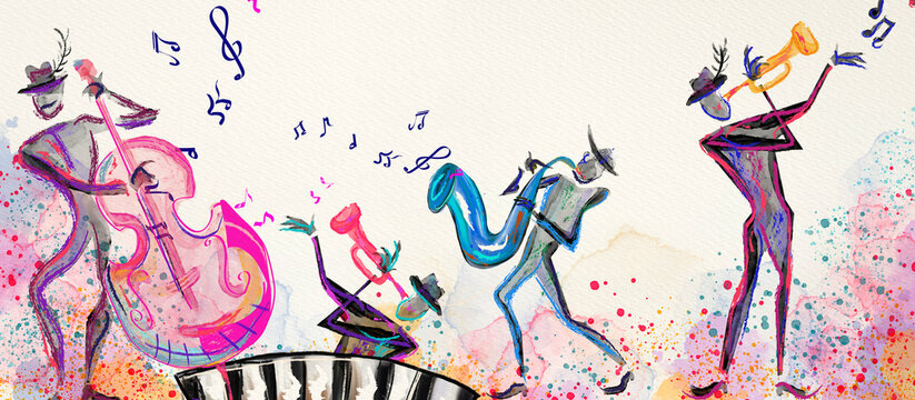 World of music. Watercolor. Concept background..