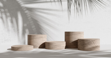Wooden product display podium with shadow nature leaves on white background. 3D rendering