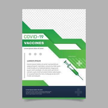 Coronavirus vaccination vertical flyer template . - Vector.
