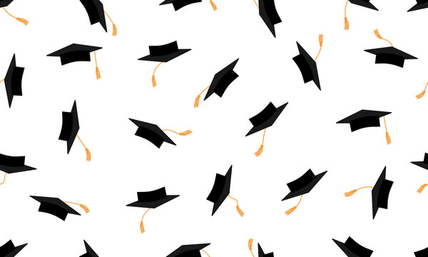 Throwing black square academic caps or mortarboards with yellow tassel, seamless pattern. Vector illustration.