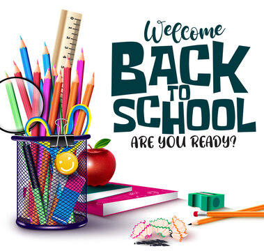 Back to school vector design. Welcome back to school text with student supplies like color pencil, scissor and magnifying glass elements for educational decoration background. Vector illustration
