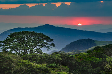 beautiful landscape of Costa Rica, rain forests, mountains, rivers and waterfalls.