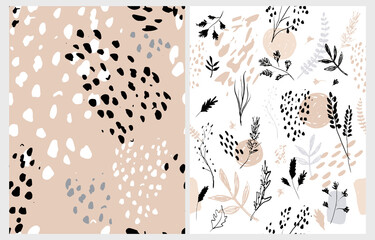Hand Drawn Irregular Floral Vector Patterns with White Sketched Twigs and Flowers Isolated on a White and Blush Brown Background. Abstract Garden Repeatable Design. Wild Animal Skin Print.