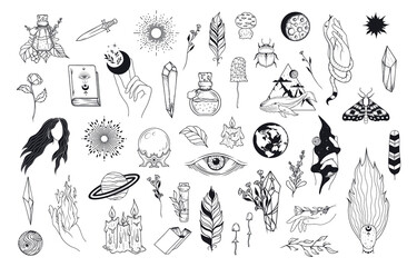 Obraz Big Witchcraft set with celestial hands, witch elements, evil eye, feathers, candles, mushrooms, crystals. Vector isolated mystical illustration. - fototapety do salonu