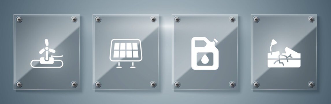 Set Earthquake, Canister for gasoline, Solar energy panel and Wind turbine. Square glass panels. Vector
