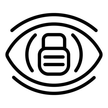 Eye lock icon. Outline eye lock vector icon for web design isolated on white background