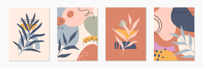 Obraz Bundle of mid century modern abstract vector illustrations with organic shapes and plants.Minimalistic art prints.Trendy designs perfect for banners templates;social media,invitations;branding,covers - fototapety do salonu