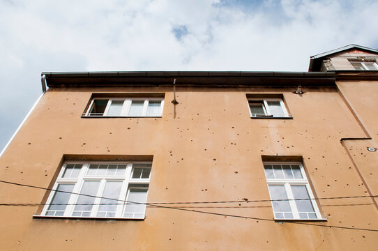 Riddled Wall in Sarajevo