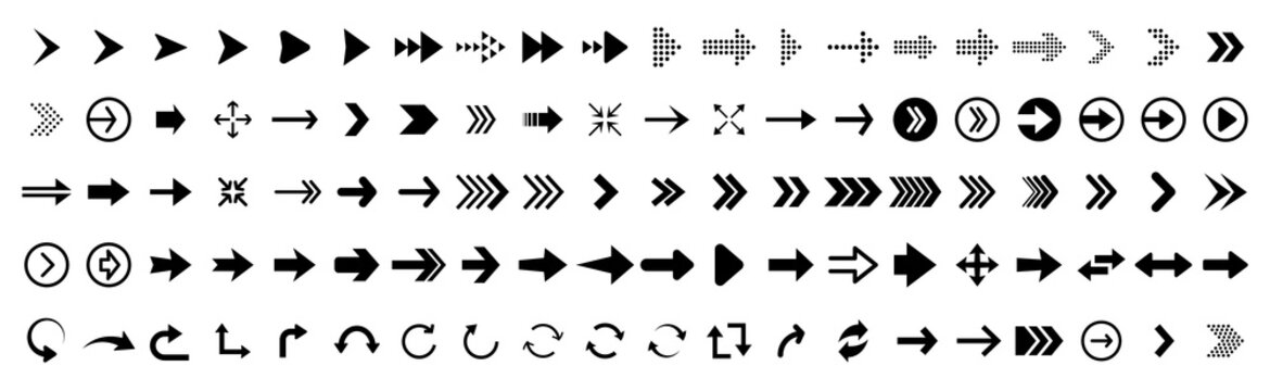 Black vector arrows collection. Arrow. Cursor. Arrow vector icon. Modern simple arrows. Collection different Arrows on flat style for web design or interface. Direction symbols - vector illustration
